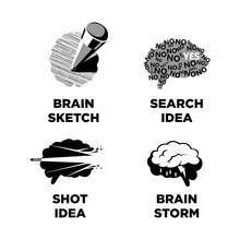 Innovative Ideas Idea And Smart Brain  Icons Templates Sticker