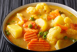 Vegetarian vegetable curry with coconut milk close-up in a bowl on the table. horizontal - 190048216