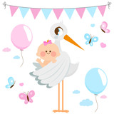 Stork delivering a new baby girl. Vector collection