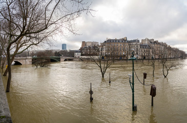 Flood of the Seine 2018 in Paris France