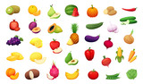 Big set of delicious vegetables and fruits. Vector certoon illustration