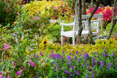 White chair in flower garden