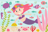 mermaid underwater with nautical animals - vector illustration, eps