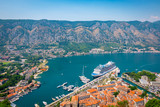 Port of Kotor, Montenegro. Aerial view with cruise ship in the background. - 190060870