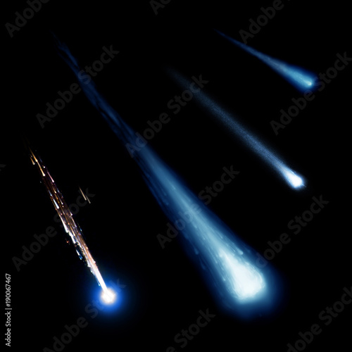 Foto op Canvas Heelal Blue meteor and comets collection isolated on black background. Elements of this image furnished by NASA.