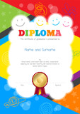 Kids Diploma or certificate template with colorful and hand drawing background border - 190068648