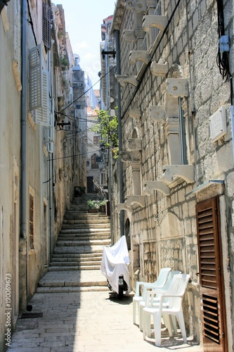 Foto op Canvas Smal steegje street in Korcula, Croatia