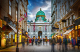The pedestrian zone Herrengasse with a view towards imperial Hofburg palace in Vienna, Austria. - 190069808