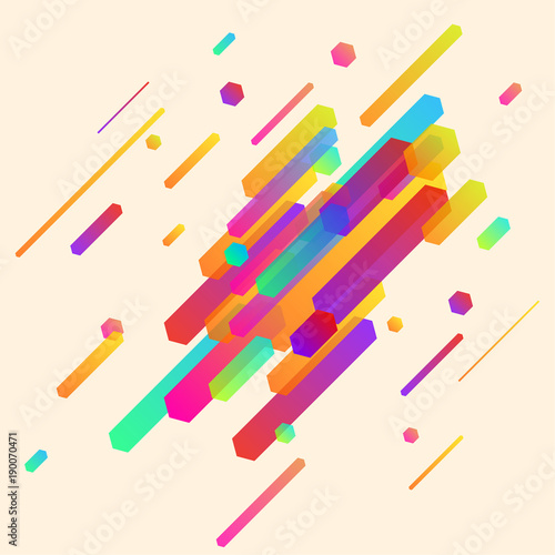 Modern abstract minimalistic neon thin lines pattern layout