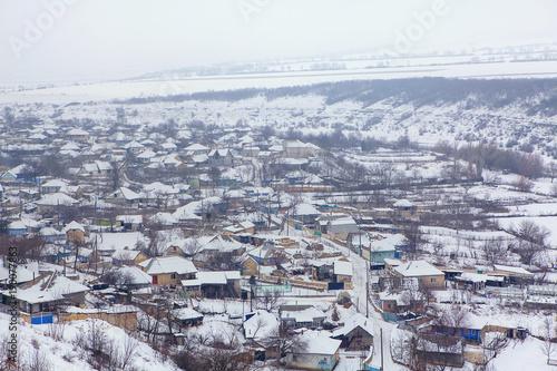 Foto op Plexiglas Lavendel winter in village