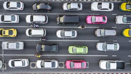 Wall mural Aerial drone photograph of traffic jam in metropolis city.