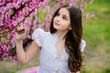 Beautiful girl in amazing dress in the gardens
