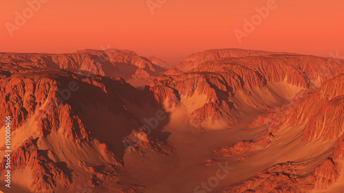 Foto op Plexiglas Koraal Mountain Canyon Landscape on Mars with Red Sky - science fiction illustration