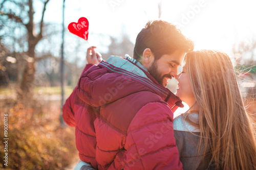 Romantic couple enjoying in moments of happiness. Love, dating, romance. Valentine's day.