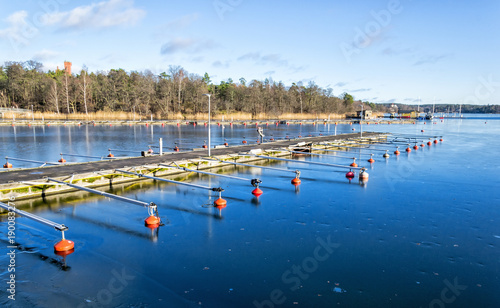 Foto op Canvas Stockholm Frozen sea bay in Stoholm's fjord