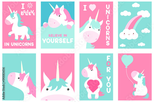 Set of banners with cute unicorns