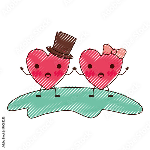 couple heart character kawaii holding hands and him with top hat and her with topknot in surprised expression in colored crayon silhouette vector illustration - 190085253
