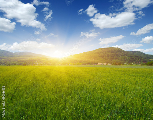 Fotobehang Lente Mountain with the sun
