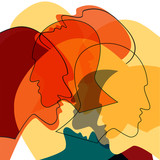 Red Heads people concept, symbol of communication between people. Vector ilustration.