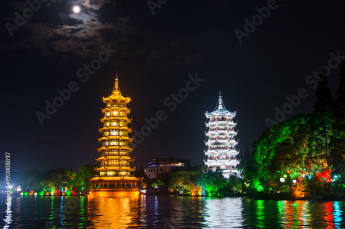 Keuken foto achterwand Guilin Two towers in Guilin in China with moonlight sky
