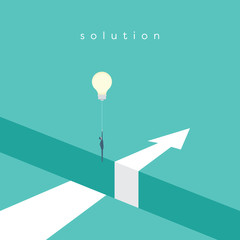 Business solution with creative idea vector concept. Businessman flying with lightbulb balloon over hole.
