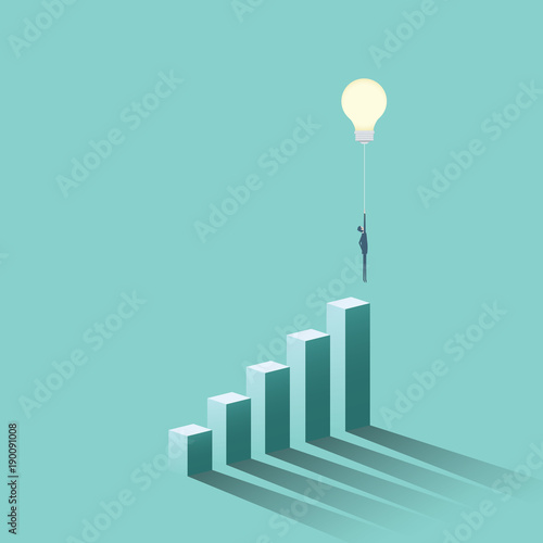 Creative idea business solution vector concept with businessman flying with lightbulb as balloon. Symbol of creativity, success, innovation, inspiration.
