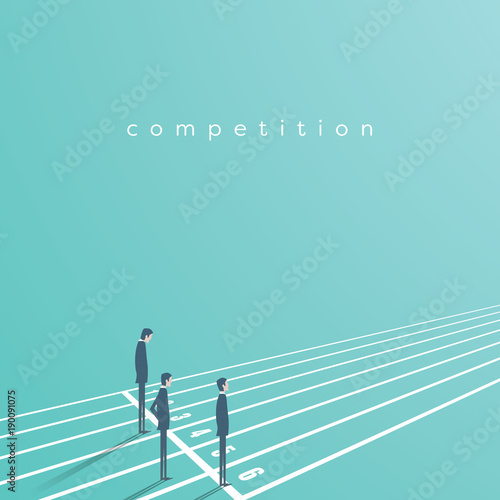 Business competition vector concept with businessman on running track. Symbol of rivals, challenge, leadership.