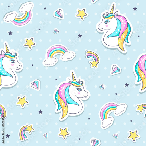 Materiał do szycia Seamless pattern with cute unicorns. Vector illustration.