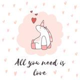 Hand drawn romantic card with unicorn. - 190093200