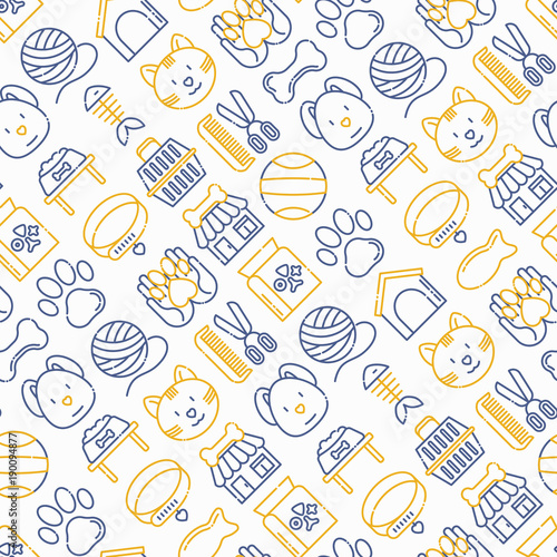 obraz lub plakat Pet shop seamless pattern with thin line icons: cat, dog, collar, kennel, grooming, food, toys. Modern vector illustration.