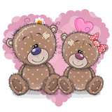 Two Cartoon Bears on a background of heart - 190095491