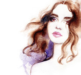 Beautiful woman. Fashion illustration. Watercolor painting - 190095820