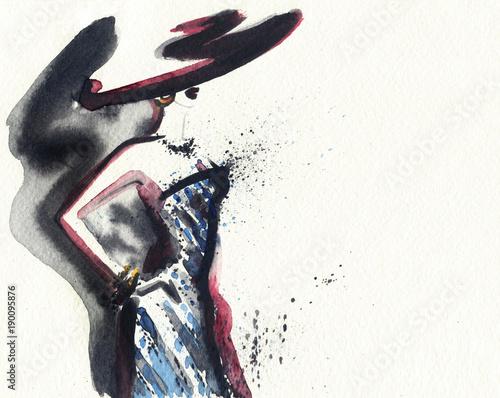Fotobehang Anna I. Abstract woman. Fashion illustration.