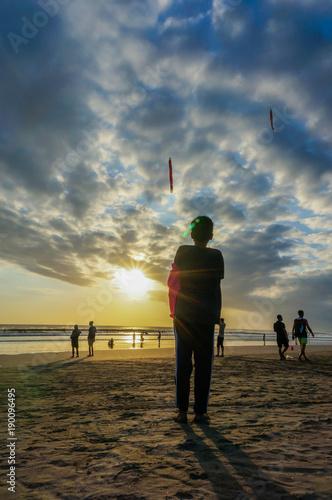 Fotobehang Strand kite flying at Kuta beach, Bali, Indonesia