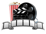 Film reel with popcorn and clapboard - 190098403