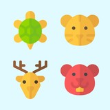 Icons set about Animals with deer, hamster, turtle and tiger