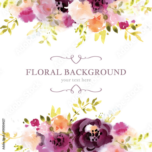 Watercolor floral background template - 190104427