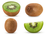 Collection ripe kiwi fruit, whole, cut in half, slice