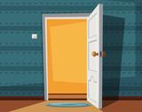 Open door. Cartoon v...