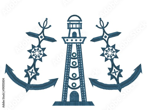 Foto op Plexiglas Eiffeltoren Kompass Anker Steuerrad und Leuchtturm