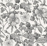 Seamless pattern. Beautiful blooming realistic isolated flowers. Vintage background. Prímula, Hibiscus heliotrope mallow wildflowers. Wallpaper. Drawing engraving. Vector victorian Illustration.