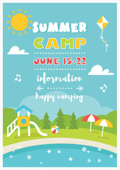 Beach Camp or Club for Kids. Summer Poster Vector Template © juliabatsheva