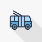 trolleybus, passenger transport thin line flat color icon. Linear vector illustration. Pictogram isolated on white background. Colorful long shadow design.