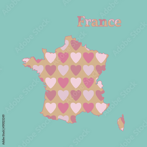 Outline map of  France with a texture of pink and red hearts. Isolated vector illustration on blue background. - 190123249