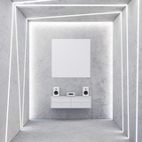 Square Canvas on concrete wall in room with light stripes, 3d rendering - 190124455