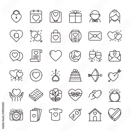 Valentines Day Icons Set Set Of Romantic Valentines Day Symbol