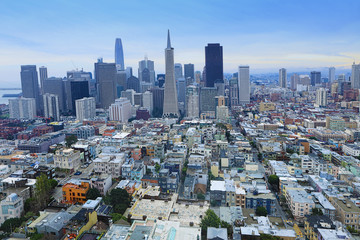 Wide view of San Francisco, California city center