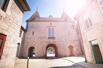 Medieval building with archway in Besancon, France