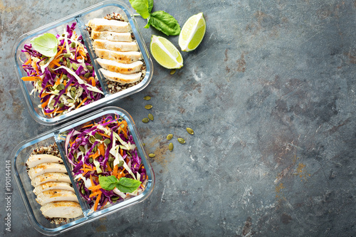 Foto Murales Healthy meal prep containers with quinoa and chicken
