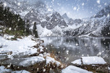 Snowy winter at Eye of the Sea lake in Tatra mountains, Poland - 190148823